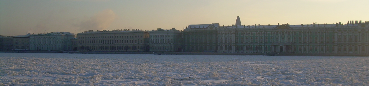 The frozen Neva River and the Winter Palace, St Petersburg, Dec 2013