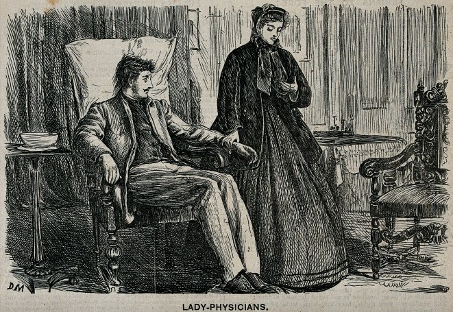An engraving showing a lady physician attending to a young man in an armchair. The caption suggests he has purposefully caught a cold in order to be seen by the young pretty doctor.