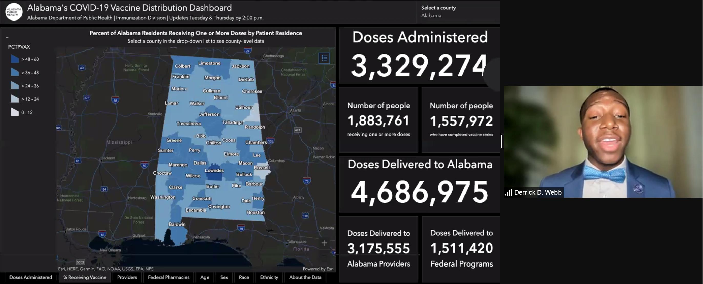 Derrick Webb Presentation Screenshot - Alabama's COVID-19 Vaccine Distribution