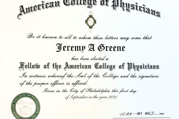 Jeremy Greene FACP Certificate